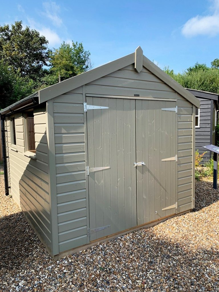 2.4 x 3.0m Classic Shed painted in Classic Stone at Cranleigh