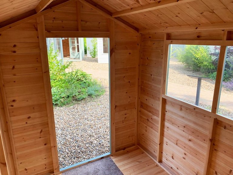 Inside Cranleigh's 1.8 x 2.4m Classic Shed painted in Classic Stone