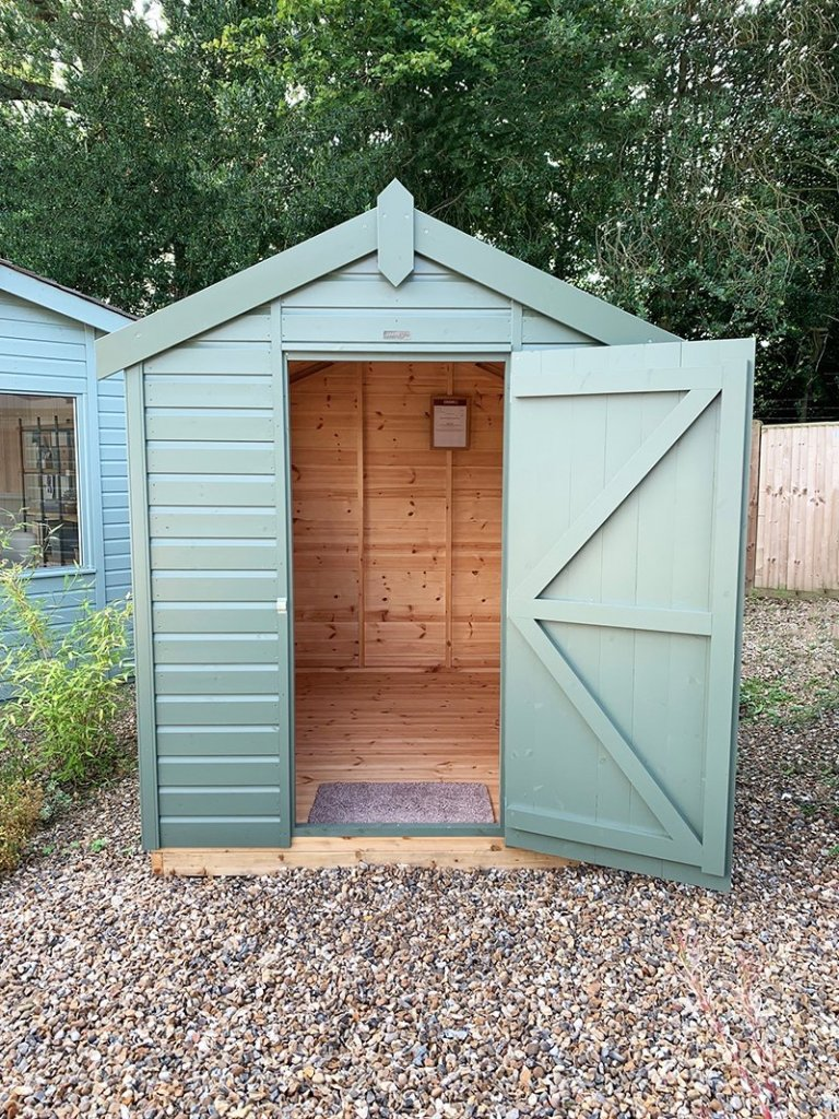 Cranleigh's 1.8 x 2.4m Classic Shed painted in Classic Stone