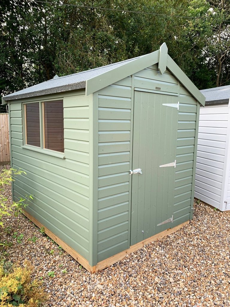 1.8 x 2.4m Classic Shed painted in Classic Stone at Cranleigh