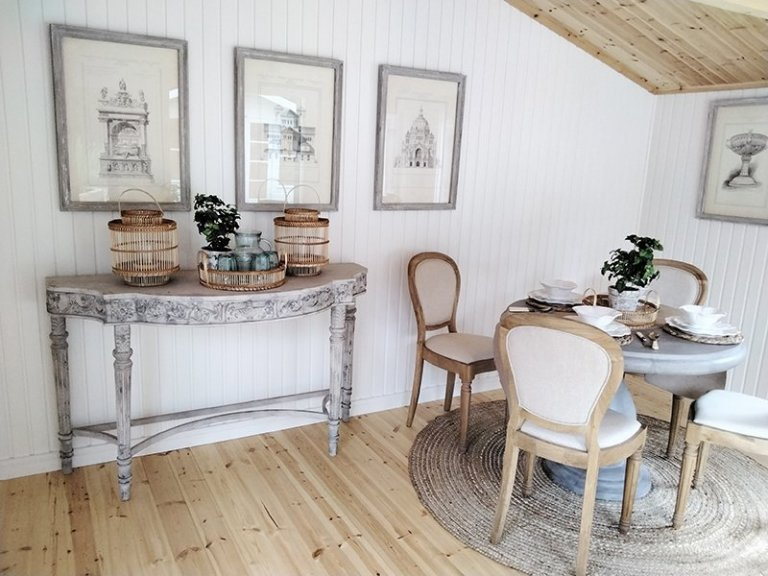 Interior of Sevenoaks' 4.2 x 4.2m Morston Summerhouse with Ivory painted matchboard and natural lacquered floor