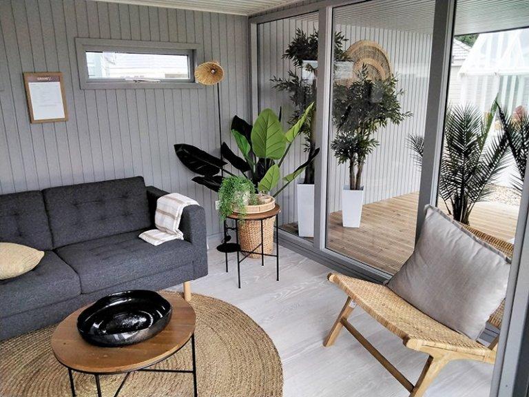 Inside Sevenoaks' 3.8 x 6.6m Holt Studio with Manor House Gray Walls, Ammonite Ceiling and Copenhagen Engineered flooring
