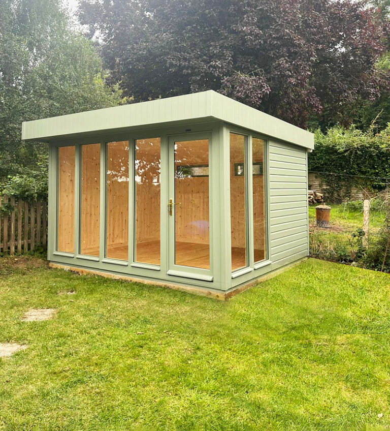 3.0 x 3.6m Salthouse Studio painted in Exterior Lizard with stylish pent roof design