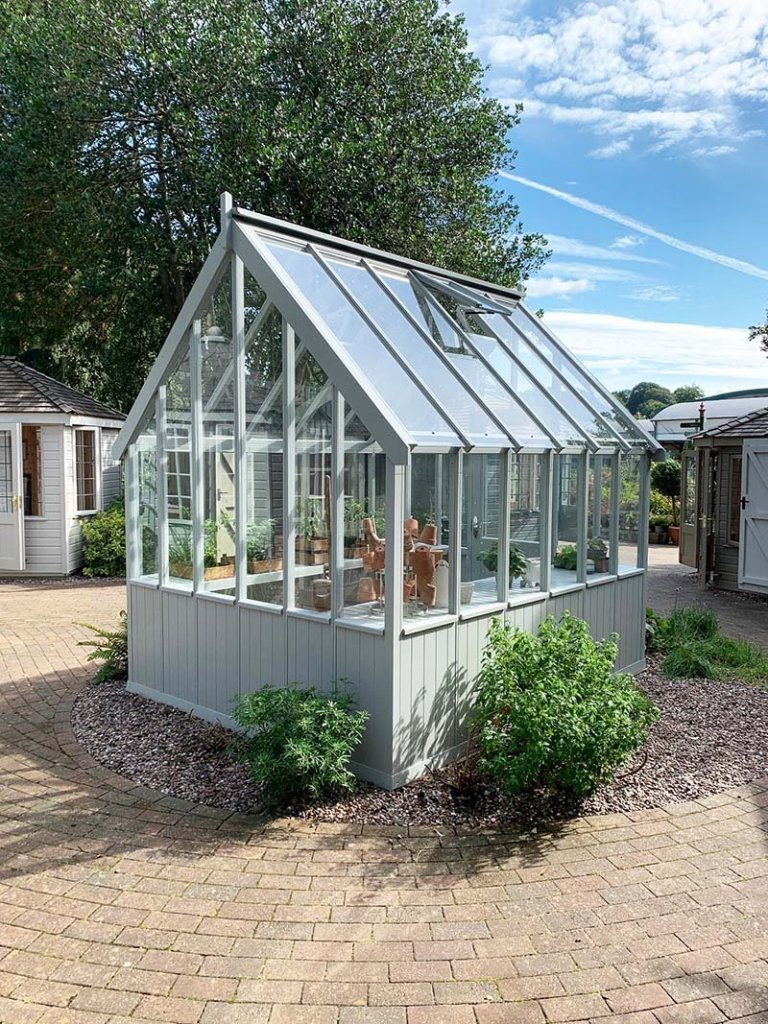 Trentham's 2.4 x 3.0m Greenhouse painted in Exterior Pebble