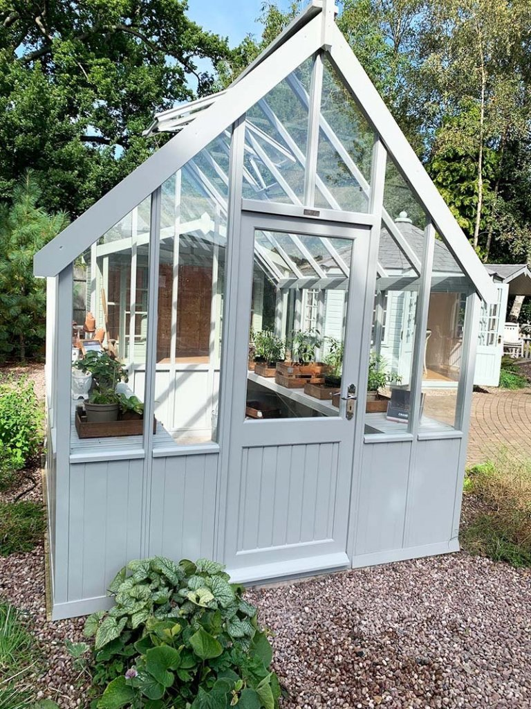 2.4 x 3.0m Greenhouse at Trentham painted in Exterior Pebble