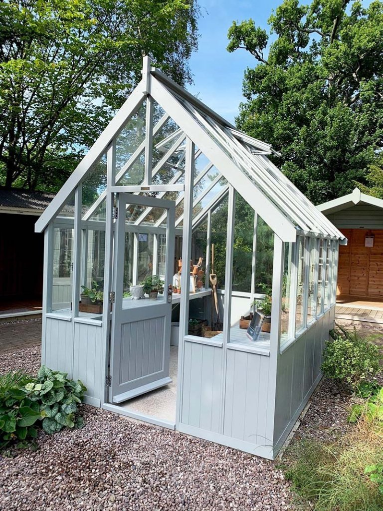 2.4 x 3.0m Greenhouse painted in Exterior Pebble at Trentham
