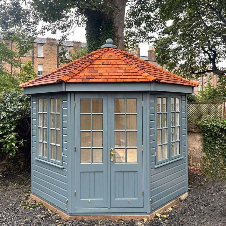 3.0 x 3.0m Wiveton Summerhouse Painted in Exterior Slate with Georgian Windows & Cedar Shingles on the Roof