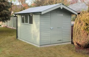Superior Shed painted in Ash with apex roof overhang