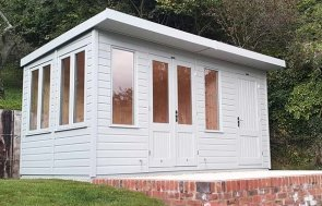 Thornham Summerhouse with Partition painted in Exterior Verdigris with pent roof design