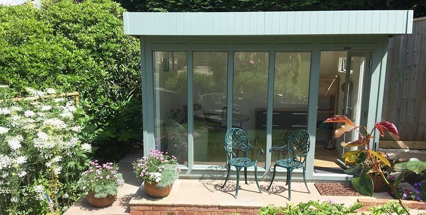 2.4 x 3.6m Salthouse Studio painted in Exterior Sage