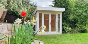 2.4 x 2.4m Salthouse Studio painted in Exterior Cream with stylish pent roof design